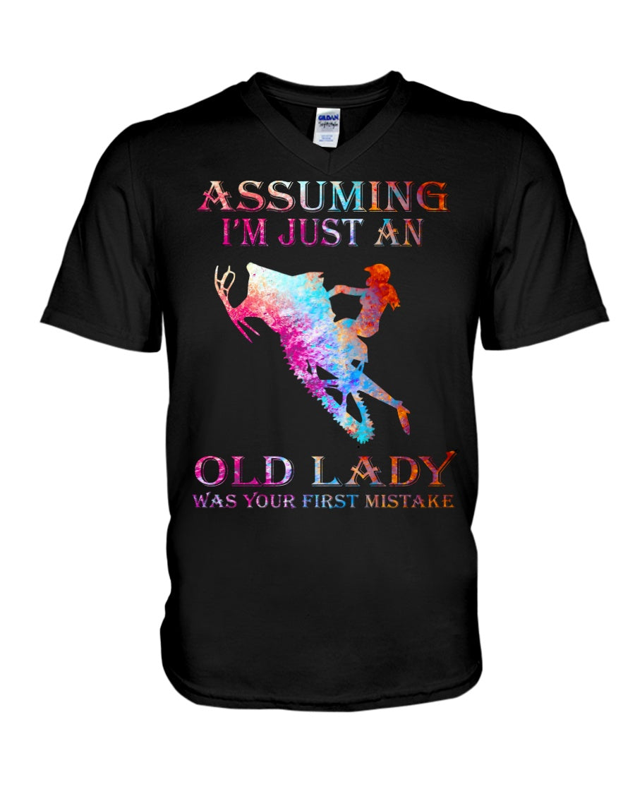 Assuming I'm Just An Old Lady Gift For Snowmobile Lovers Guys V-Neck