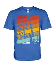 Load image into Gallery viewer, World's Okayest Bass Player Custom Design For Music Instrument Lovers Guys V-Neck