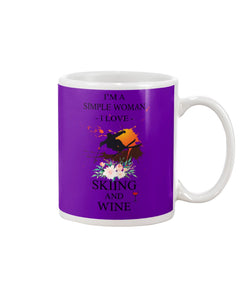 I Am A Simple Woman Who Loves Skiing And Wine Custom Design Mug