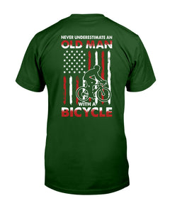 Never Underestimate An Old Man With A Bicycle American Flag Custom Design Guys Tee