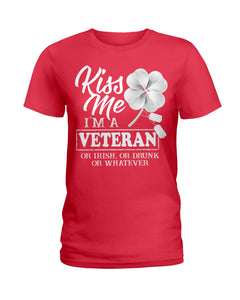 Kiss Me I'm A Veteran Clover Gifts Ladies Tee