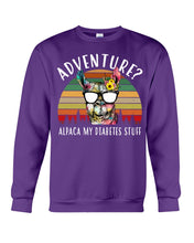 Load image into Gallery viewer, Adventure Alpaca My Diabetes Stuff Colorful Gift For Family Sweatshirt