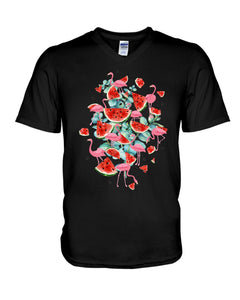 Flamingo Fruit Watermelon  Special Unique Custom Design Guys V-Neck