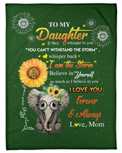 Load image into Gallery viewer, Elephant Lovely Message From Mom Gifts For Daughters Fleece Blanket