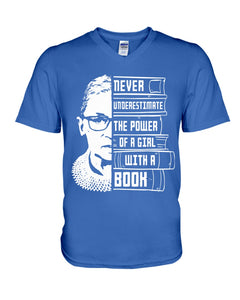 Never Underestimate A Power Girl With A Book Custom Design Guys V-Neck