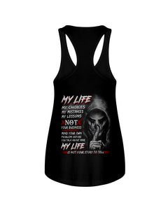 My Life My Choices My Mistakes My Lessons Special Custom Design Ladies Flowy Tank
