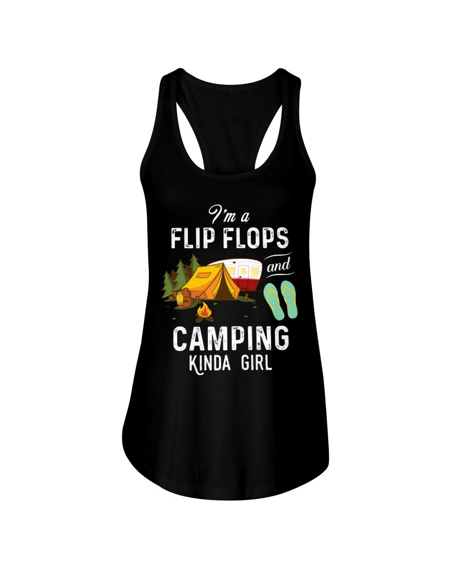 I'm A Flip Flops And Camping Kinda Girl For Camping Lovers Ladies Flowy Tank