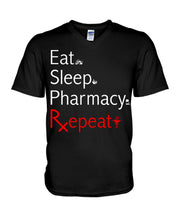 Load image into Gallery viewer, Eat Sleep Pharmacy Repeat Simple Unique Custom Design Guys V-Neck