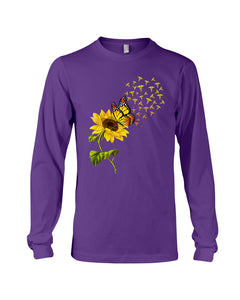 Butterfly Sunflower Nurse Custom Gift For Friends Unisex Long Sleeve