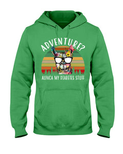 Adventure Alpaca My Diabetes Stuff Colorful Gift For Family Hoodie