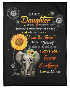 Elephant Lovely Message From Mom Gifts For Daughters Fleece Blanket