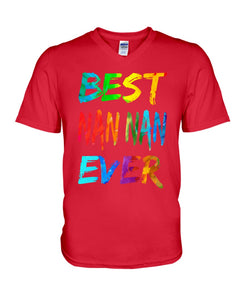 Best Nan Nan Ever Colorful Abstract Words Gifts Guys V-Neck