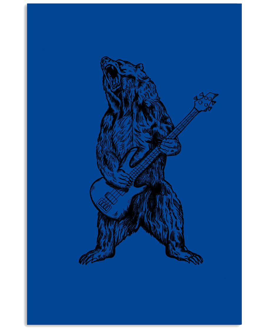 The Bear Play Guitar Funny Gift For Bass Guitar Lovers Vertical Poster