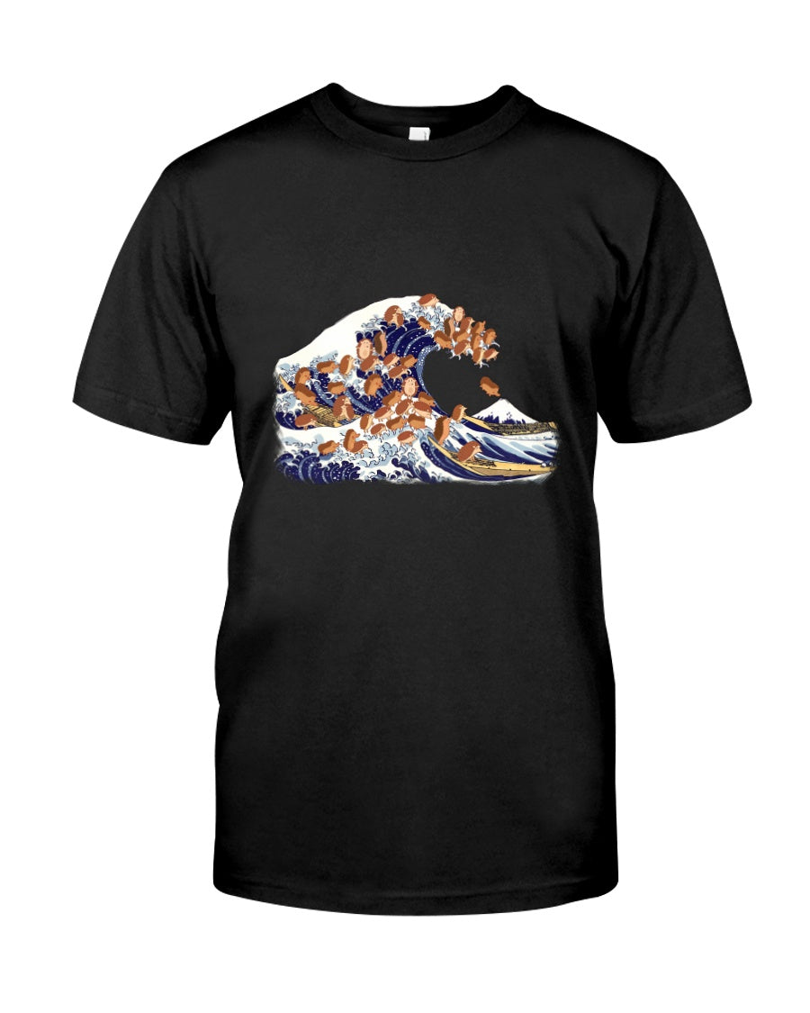 Funny Hedgehog Great Wave Gifts For Hedgehog Lovers Guys Tee