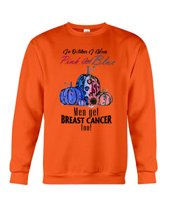 In Octorber We Wear Pink And Blue Breast Cancer Custom Design Sweatshirt