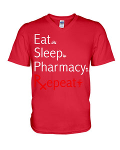 Eat Sleep Pharmacy Repeat Simple Unique Custom Design Guys V-Neck