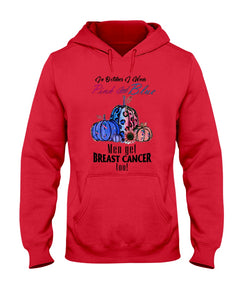 In Octorber We Wear Pink And Blue Breast Cancer Custom Design Hoodie
