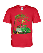Load image into Gallery viewer, Pit Bull Shamrock Truck For St.Patrick's Day Gifts For Dog Lovers Guys V-Neck