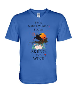 I Am A Simple Woman Who Loves Skiing And Wine Custom Design Guys V-Neck