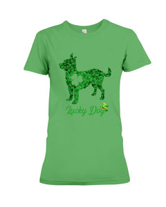 Chihuahua Lucky Day Clover Happy St Patrick's Day Trending Ladies Tee