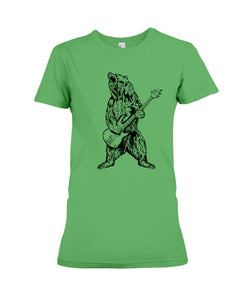 The Bear Play Guitar Funny Gift For Bass Guitar Lovers Ladies Tee
