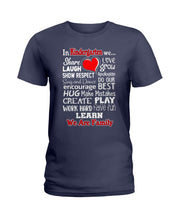 Load image into Gallery viewer, In Kindergarten We Work Hard Have Fun Learn We Are Family Ladies Tee