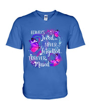 Load image into Gallery viewer, In Loving Memory Never Forgotten Forever Missed Butterflies Guys V-Neck