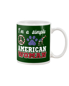 I Am A Simple American Woman Who Loves Dogs And Giraffe Custom Design Mug