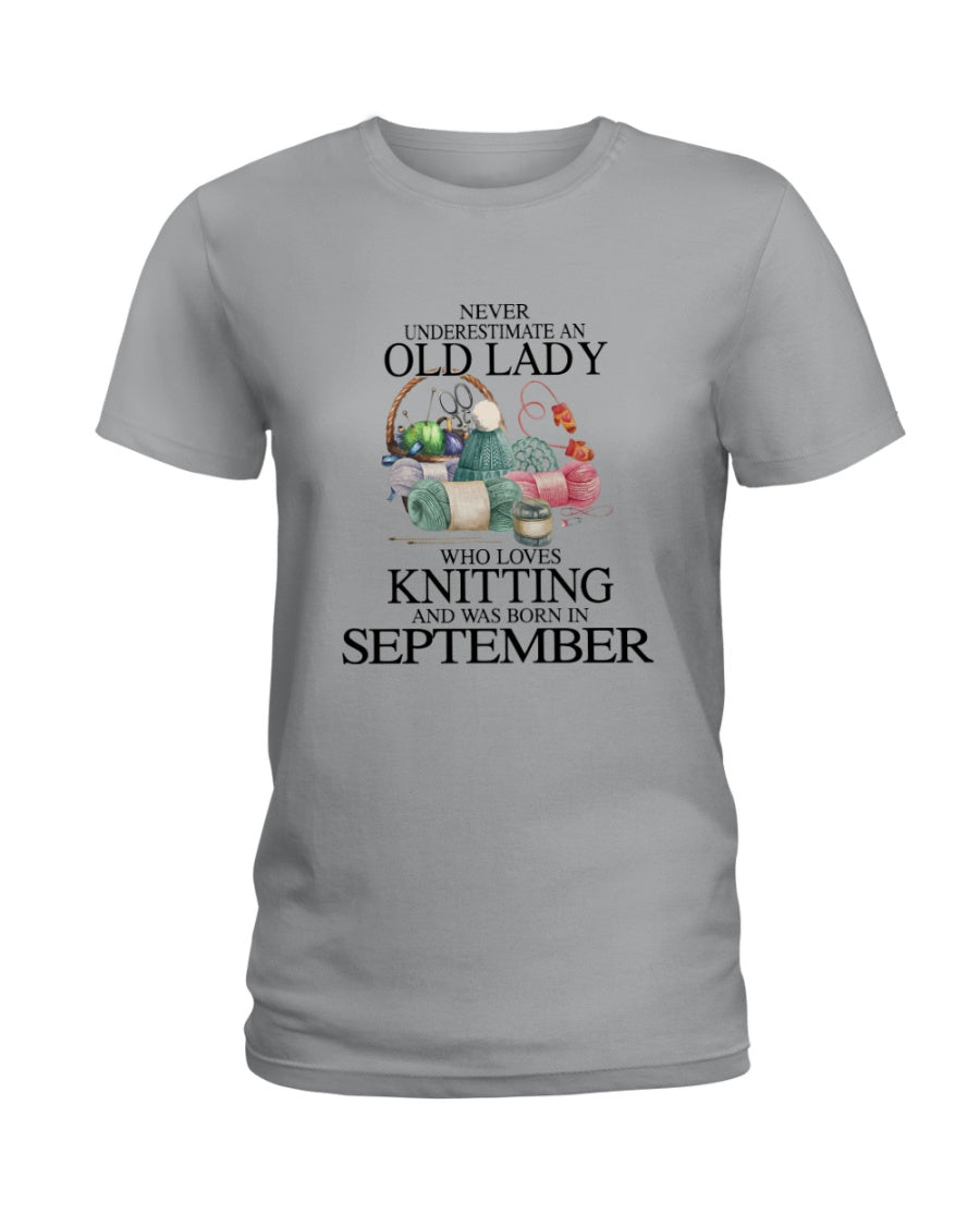 Never Underestimate A September Old Lady Who Loves Knitting Ladies Tee