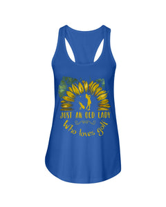 Sunflower Just An Old Lady Who Loves Golf Custom Design For Sport Lovers Ladies Flowy Tank