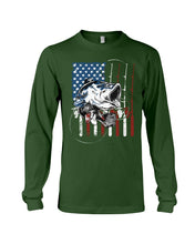 Load image into Gallery viewer, Fishing American Flag Vintage Special Unique Custom Design Unisex Long Sleeve