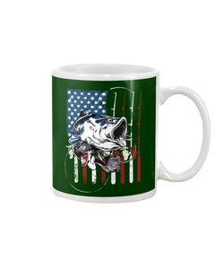 Fishing American Flag Vintage Special Unique Custom Design Mug