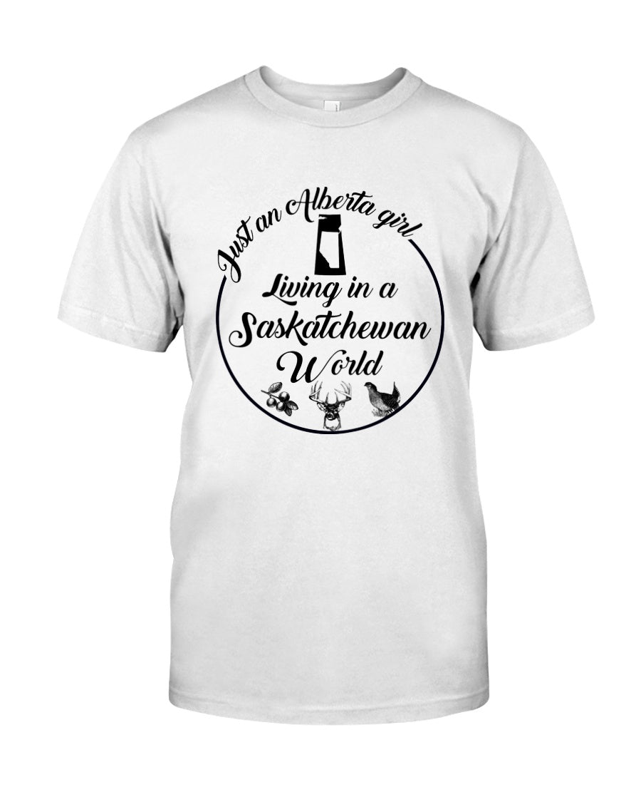 Just An Alberta Girl In A Saskatchewan  World Personalized Nation Gifts Guys Tee