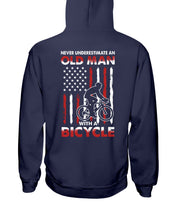 Load image into Gallery viewer, Never Underestimate An Old Man With A Bicycle American Flag Custom Design Hoodie