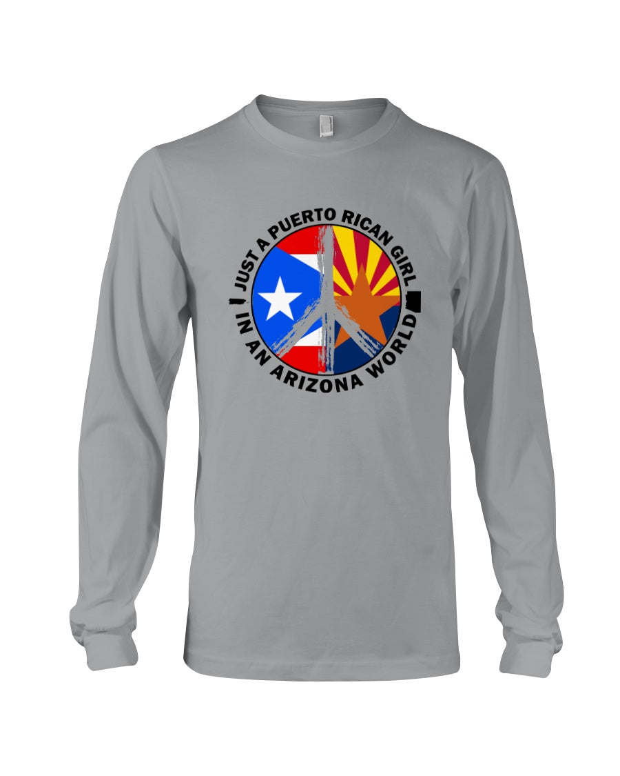 Just A Puerto Rico Girl In An Arizona   World Personalized Nation Gifts Unisex Long Sleeve