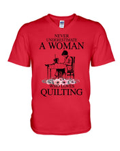 Load image into Gallery viewer, Never Underestimate A Woman Who Loves Quilting Custom Design Guys V-Neck