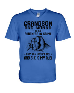 Grandson And Nonna Best Partners In Crime Custom Design Guys V-Neck