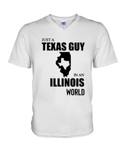 Just A Texas Guy In An Illinois  World Personalized Nation Gifts Guys V-Neck