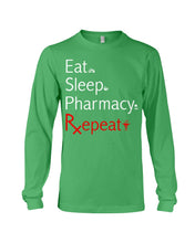Load image into Gallery viewer, Eat Sleep Pharmacy Repeat Simple Unique Custom Design Unisex Long Sleeve