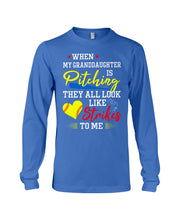 Load image into Gallery viewer, When My Granddaughter Is Pitching They All Look Like Strikes To Me Unisex Long Sleeve
