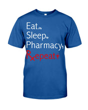 Load image into Gallery viewer, Eat Sleep Pharmacy Repeat Simple Unique Custom Design Guys Tee