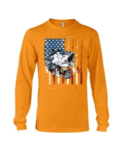 Fishing American Flag Vintage Special Unique Custom Design Unisex Long Sleeve