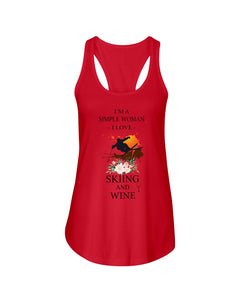 I Am A Simple Woman Who Loves Skiing And Wine Custom Design Ladies Flowy Tank