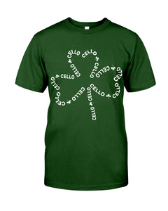 Cello With Four Leaf Clovers Great Gift For Cello Players Guys Tee