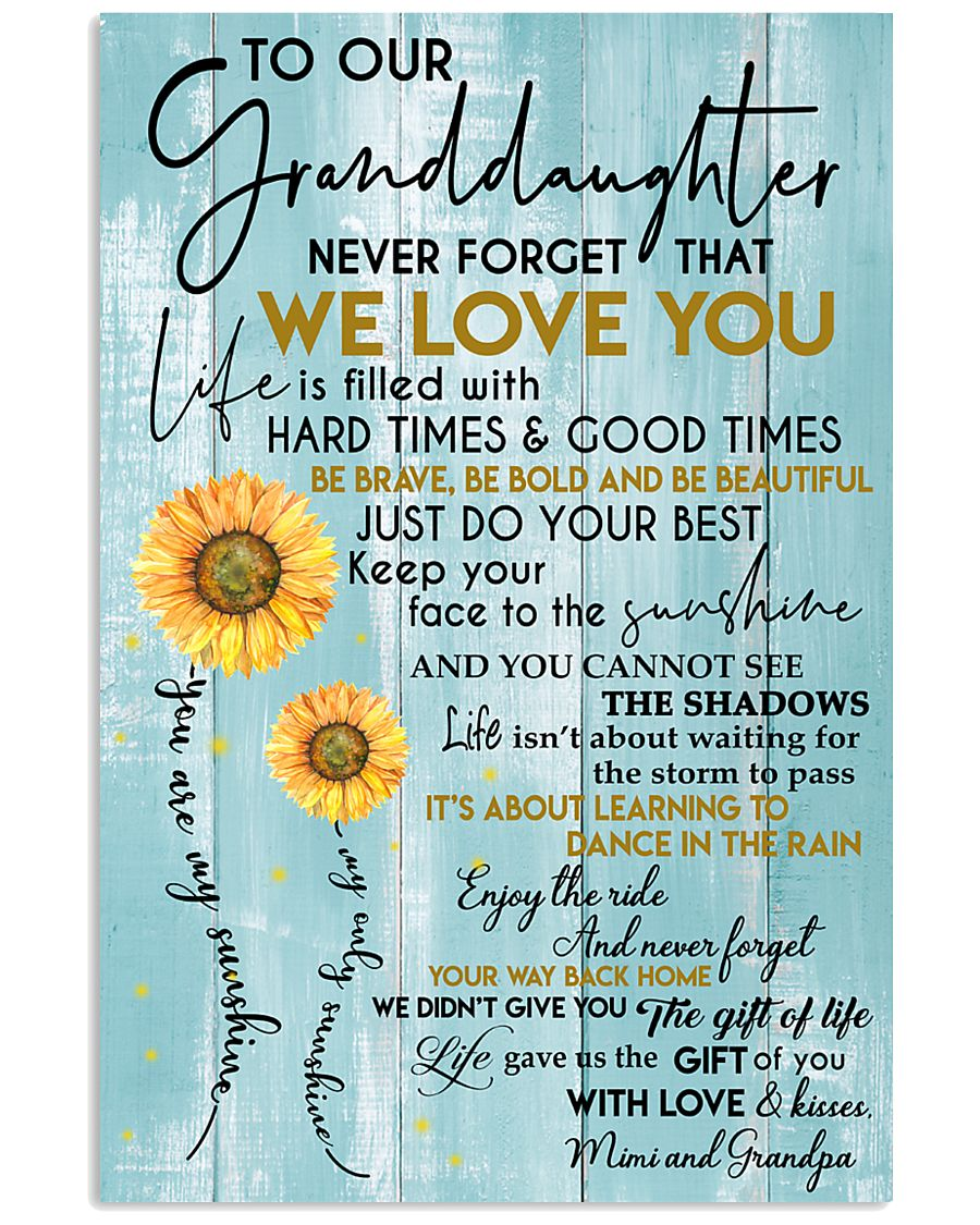 Never Forget That I Love You Quote Gift For Granddaughter From Mimi And Grandpa Vertical Poster