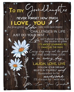 Never Forget How Much I Love You Quote Gift For Granddaughter Fleece Blanket