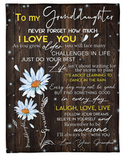 Load image into Gallery viewer, Never Forget How Much I Love You Quote Gift For Granddaughter Fleece Blanket