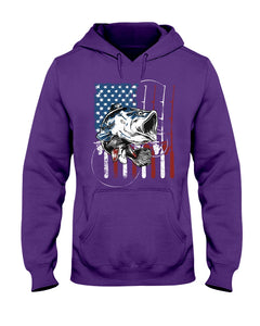 Fishing American Flag Vintage Special Unique Custom Design Hoodie