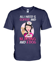 Load image into Gallery viewer, All I Need Is Coffee And Nursing And A Dog Custom Design Guys V-Neck