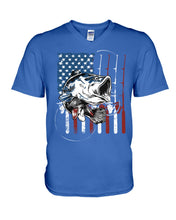 Load image into Gallery viewer, Fishing American Flag Vintage Special Unique Custom Design Guys V-Neck